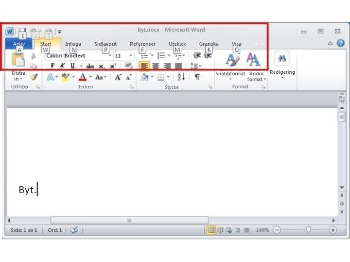 Fliken Start i Word 2010 med tangenttips som visas
