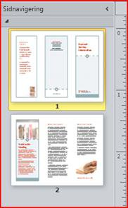 Tvåsidig trippelvikt broschyr visas i navigeringsfönstret i Publisher 2010