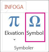 Infoga en symbol