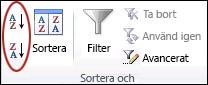 Knappar för sortering i gruppen Sortera och filtrera på fliken Data i Excel