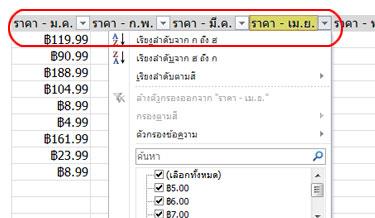 ตัวกรองอัตโนมัติที่ปรากฏในส่วนหัวของคอลัมน์ในตาราง Excel