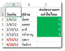 ตัวอย่างการจัดรูปแบบตามเงื่อนไขใน Excel