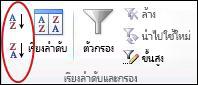 ปุ่ม เรียงลำดับ ในกลุ่ม เรียงลำดับและกรอง บนแท็บ ข้อมูล ใน Excel