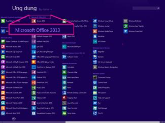 Tìm ứng dụng Office theo tên