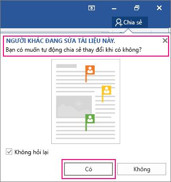 Lời nhắc Người Khác Đang Sửa Tài liệu Này được hiển thị từ lệnh Chia sẻ