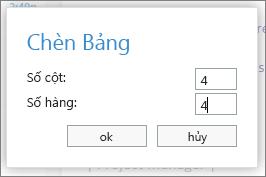 Công cụ để nhập số hàng và cột trong một bảng mới.