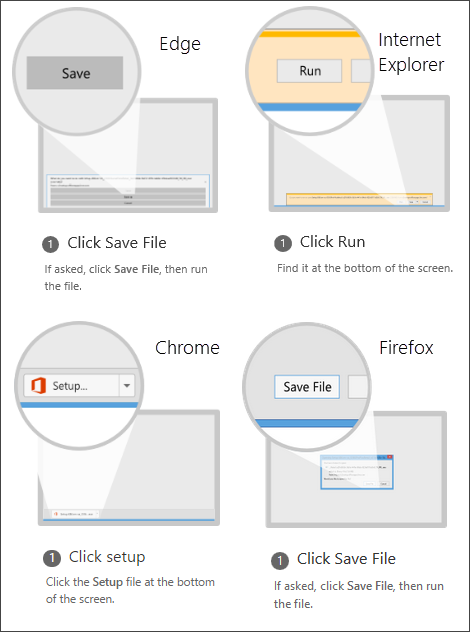 Browser options: in Internet Explorer click Run, in Chrome click Setup, in Firefox click Save File