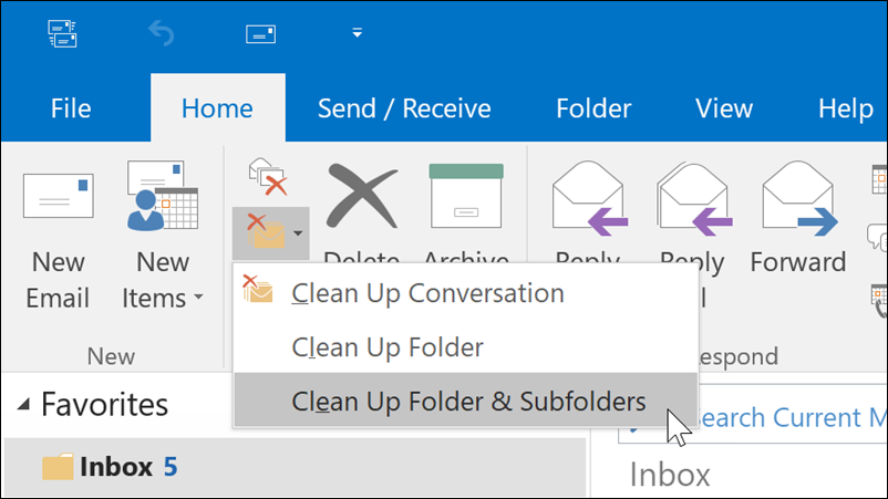 Clean up a folder or a conversation