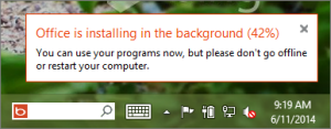 Notification about installation