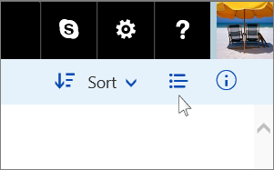 The cluster of buttons in the upper right corner that contain the detail/thumbnail toggled button.