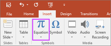 Shows insert equations button on the ribbon in PowerPoint