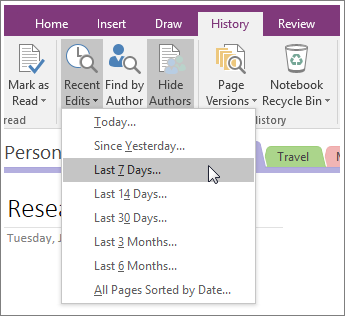 See a list of recent changes in a notebook in OneNote 2016 for Windows
