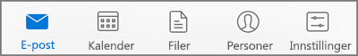 Velg et ikon for å vise e-post, kalender, personer (kontakter), filer eller innstillinger