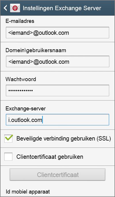 Instellingen Exchange Server