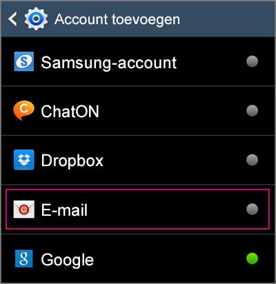 Selecteer e-mail voor toevoegen van account